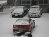 雪の自宅前