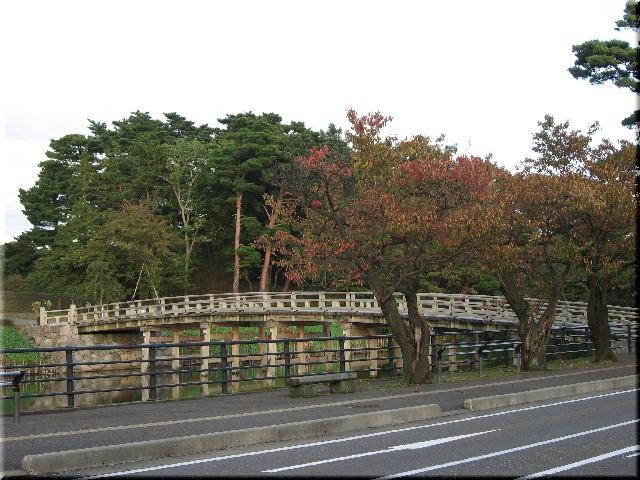 高田公園・色付いた極楽橋⇒8月