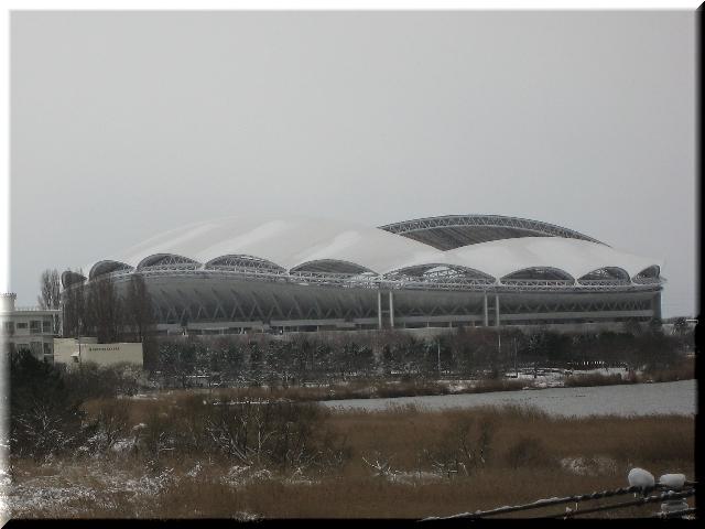雪のビッグスワン・スタジアム