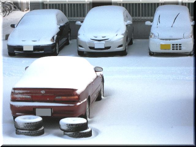 雪を頂く乗用車達